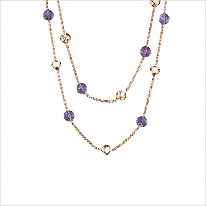 "Icona Amethyst 42"" Necklace in Sterling Silver plated with 18k Rose Gold"
