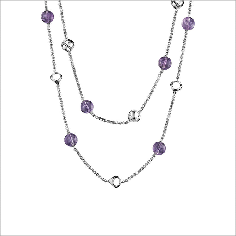 "Icona Amethyst 42"" Necklace in Sterling Silver"