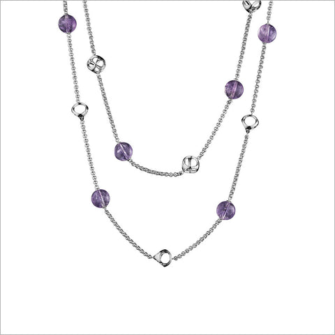 "Icona Sterling Silver Amethyst 42"" Necklace"
