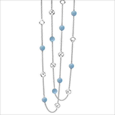 "Icona 42"" Aquamarine Necklace in Sterling Silver"