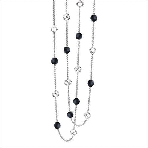 "Icona Black Onyx 42"" Necklace in Sterling Silver plated with Rhodiu,"