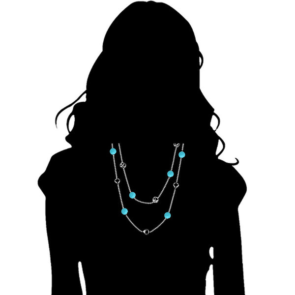 "Icona Turquoise 42"" Necklace in Sterling Silver"