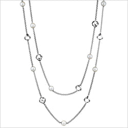 "Icona Pearl 42"" Necklace in sterling silver plated with rhodium"