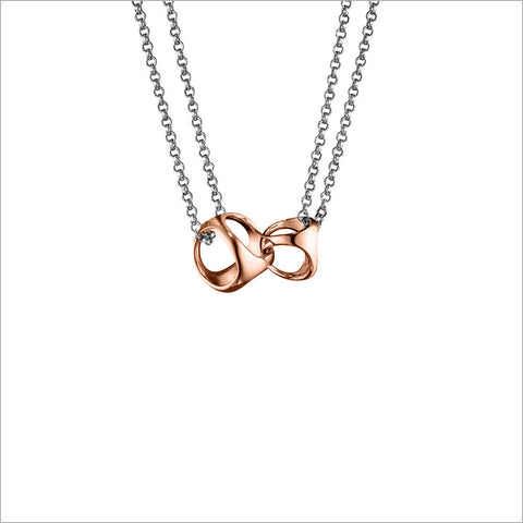 Linked By Love Necklace in Sterling Silver plated with Rose Gold