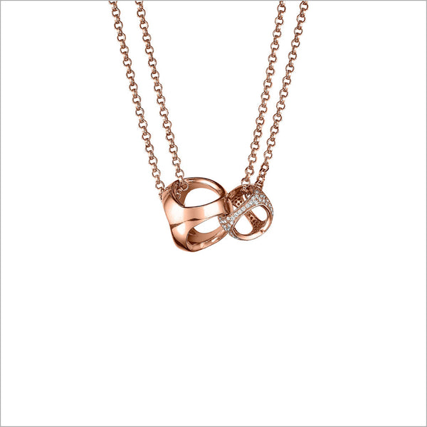 Linked By Love Diamond Necklace in Sterling Silver plated with Rose Gold