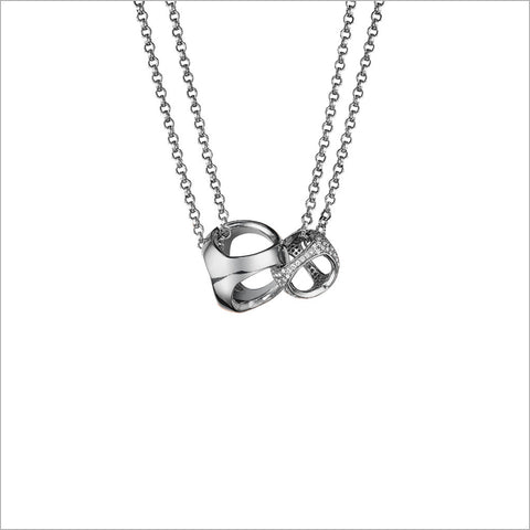 Linked By Love Sterling Silver Diamond Necklace