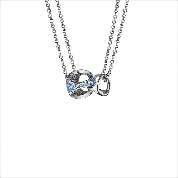 Linked By Love Heart Sterling Silver Necklace with Blue Sapphire