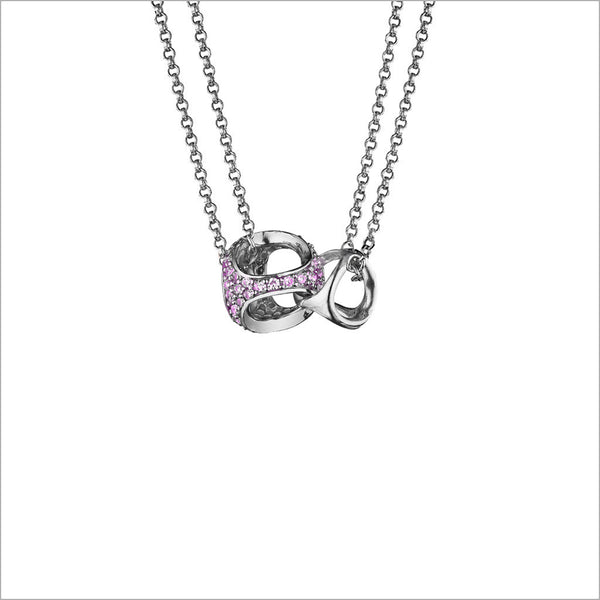 Linked By Love Heart Sterling Silver Necklace with Pink Sapphire