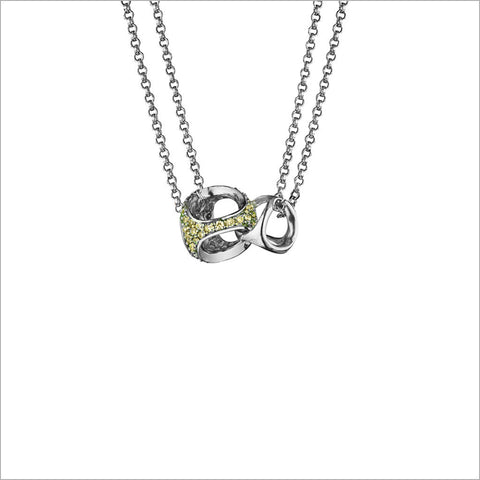 Linked By Love Heart Sterling Silver Necklace with Yellow Sapphire