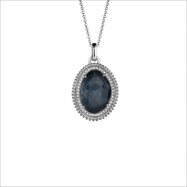 Motif Hematite & Diamond Necklace in Sterling Silver