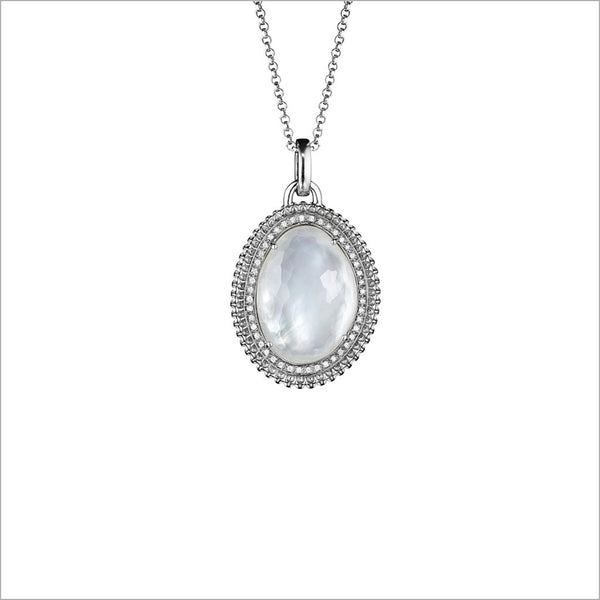 Motif Mother of Pearl & Diamond Necklace in Sterling Silver
