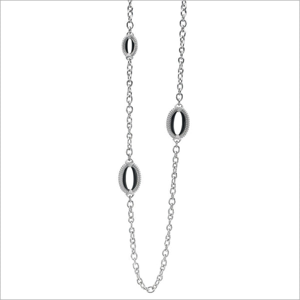 "Motif Black Enamel 42"" Necklace in Sterling Silver"