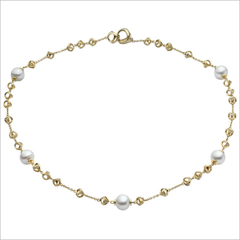 "Triadra 18K Yellow Gold & Pearl 22"" Necklace with Diamonds"