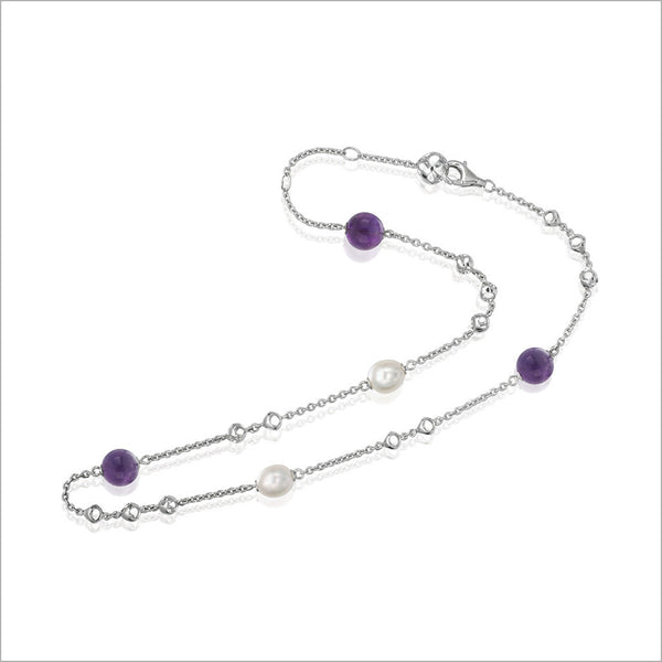 "Icona Amethyst & Pearl 18"" Necklace in Sterling Silver"