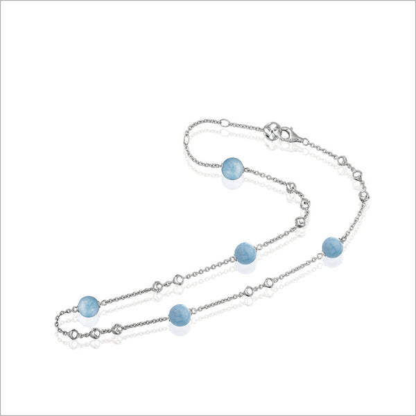"Icona Sterling Silver & Aquamarine 18"" Necklace"