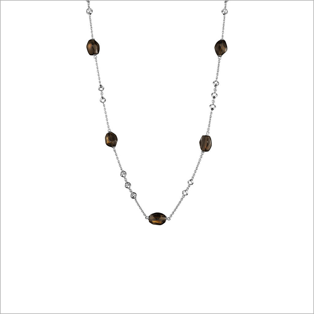 "Icona Smoky Quartz 18"" Necklace in Sterling Silver"