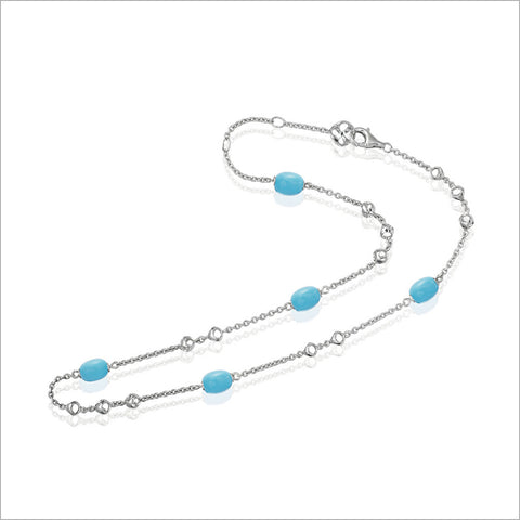 "Icona Turquoise 18"" Necklace in Sterling Silver"