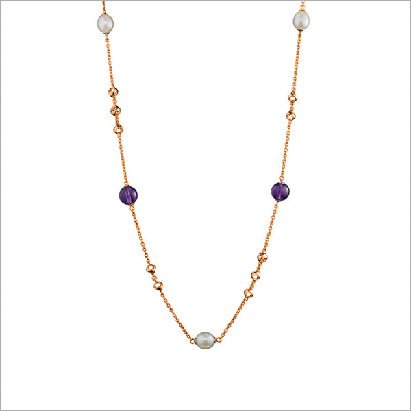 "Icona Amethyst & Pearl 32"" Necklace in Sterling Silver plated in Rose Gold"