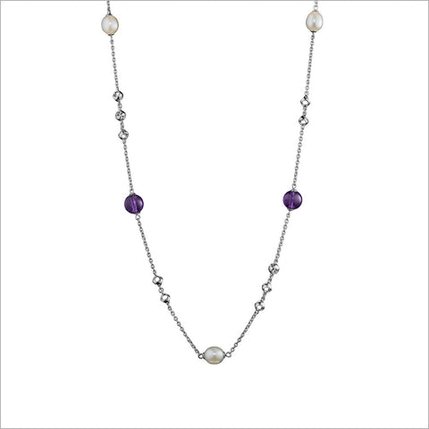 Icona Rose & Rock Crystal Lariat in Sterling Silver