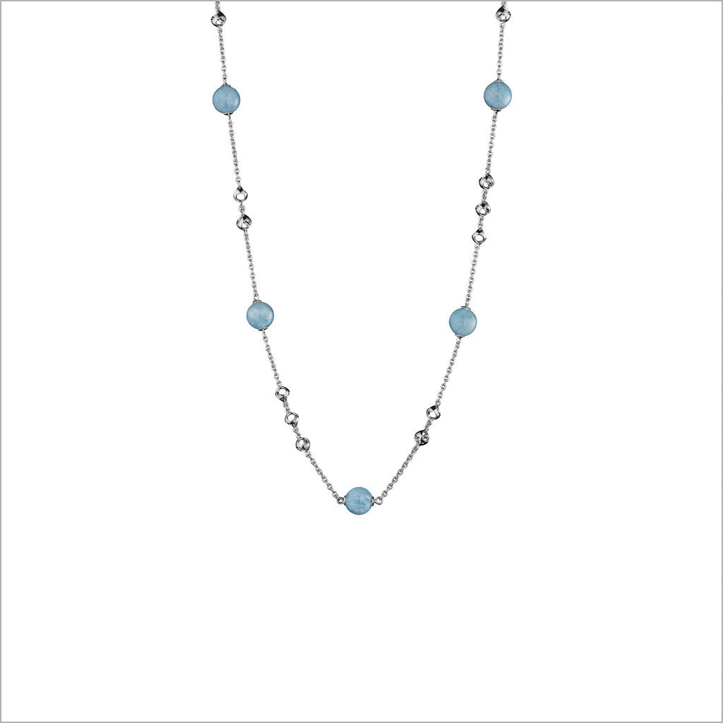 "Icona Aquamarine 32"" Necklace in Sterling Silver"