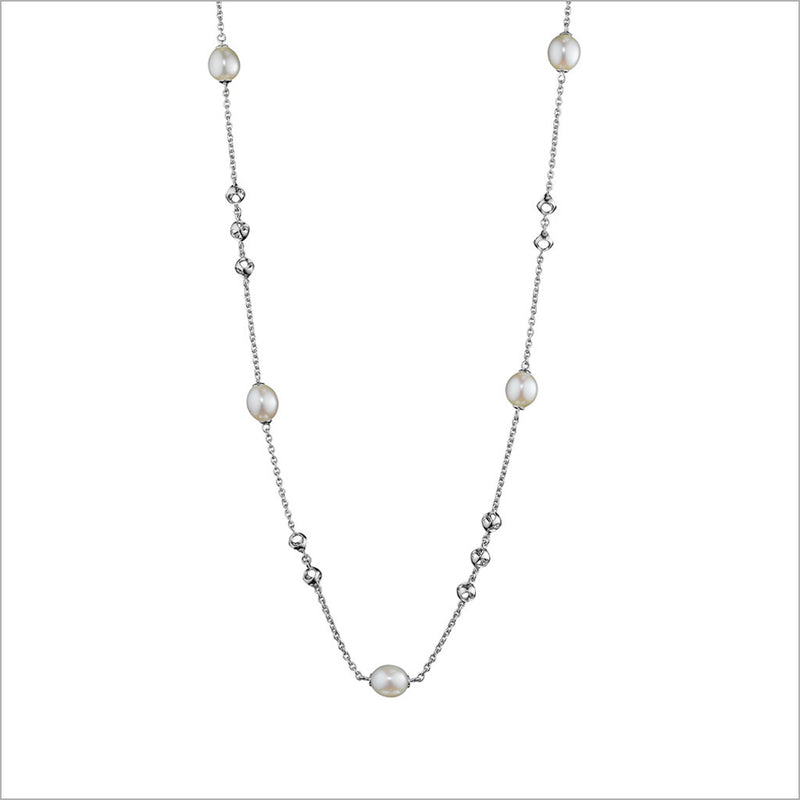 "Icona Pearl 32"" Necklace in Sterling Silver"