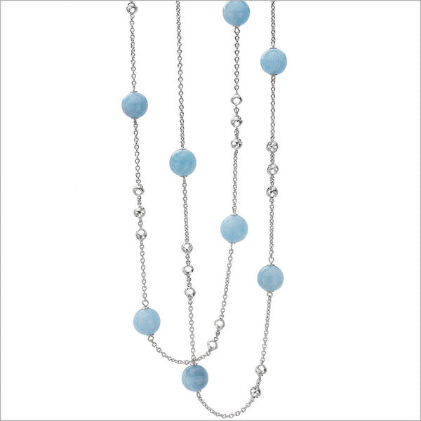 "Icona Aquamarine 42"" Necklace in Sterling Silver"