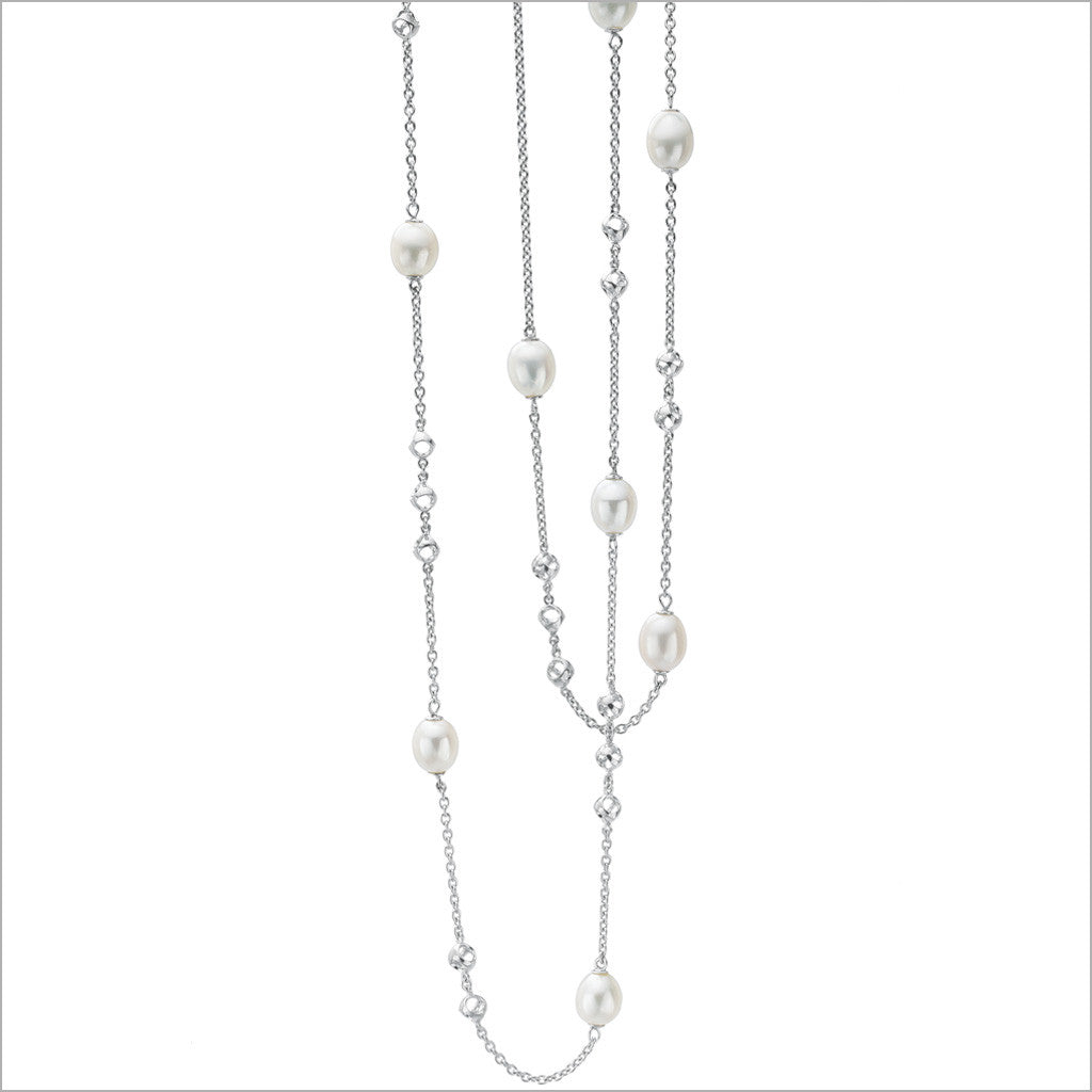 "Icona Pearl 42"" Necklace in Sterling Silver"