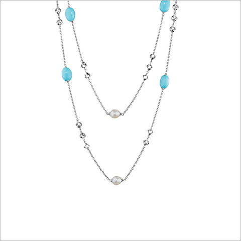 "Icona Turquoise & Pearl 42"" Necklace in Sterling Silver"