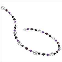 Triadra 18K White Gold Necklace with Multi-Colored Stones and Diamonds