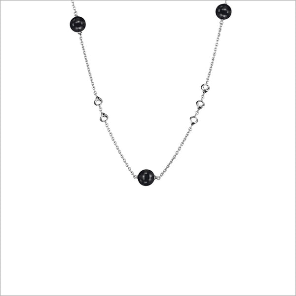 "Icona Sterling Silver 18"" Necklace with Black Onyx"