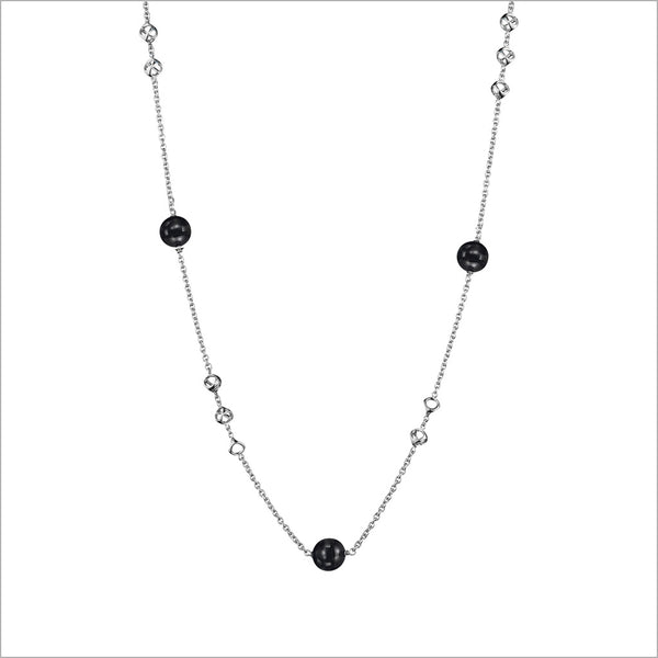 "Icona Sterling Silver 32"" Necklace with Black Onyx"