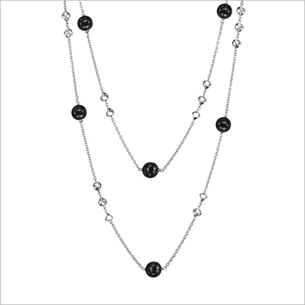 "Icona Sterling Silver 42"" Necklace with Black Onyx"