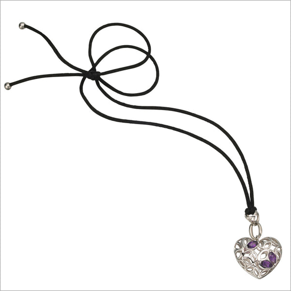 Medallion Amethyst Sterling Silver Heart Necklace