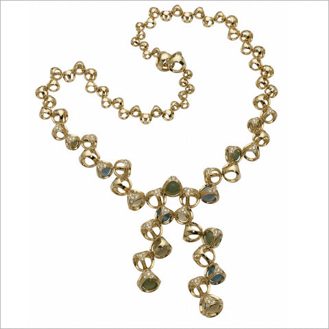 Triadra 18K Yellow Gold & Green Agate Necklace with Diamonds