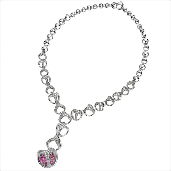 Triadra 18K White Gold & Pink Sapphire Necklace with Diamonds