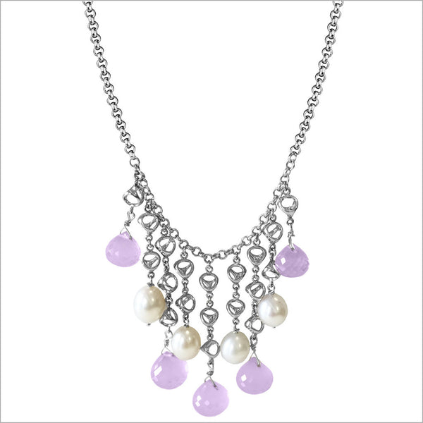 Icona Amethyst & Pearl Necklace in Sterling Silver