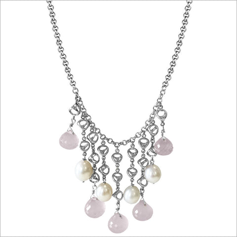 Icona Pink Quartz & Pearl Necklace in Sterling Silver