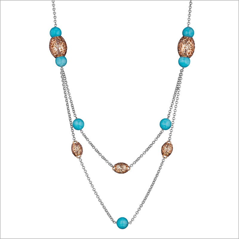 Sahara Amazonite Necklace in Sterling Silver & Plated with 18k Rose Gold
