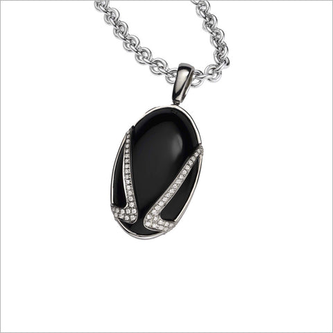 Favola 18K White Gold Necklace with Black Onyx and Diamonds