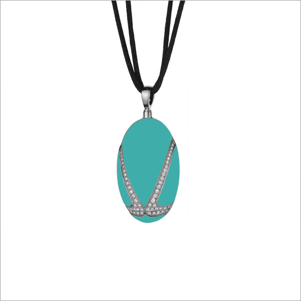 Favola 18K White Gold Necklace with Turquoise and Diamonds