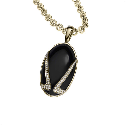 Favola 18K Yellow Gold Necklace with Black Onyx and Diamonds