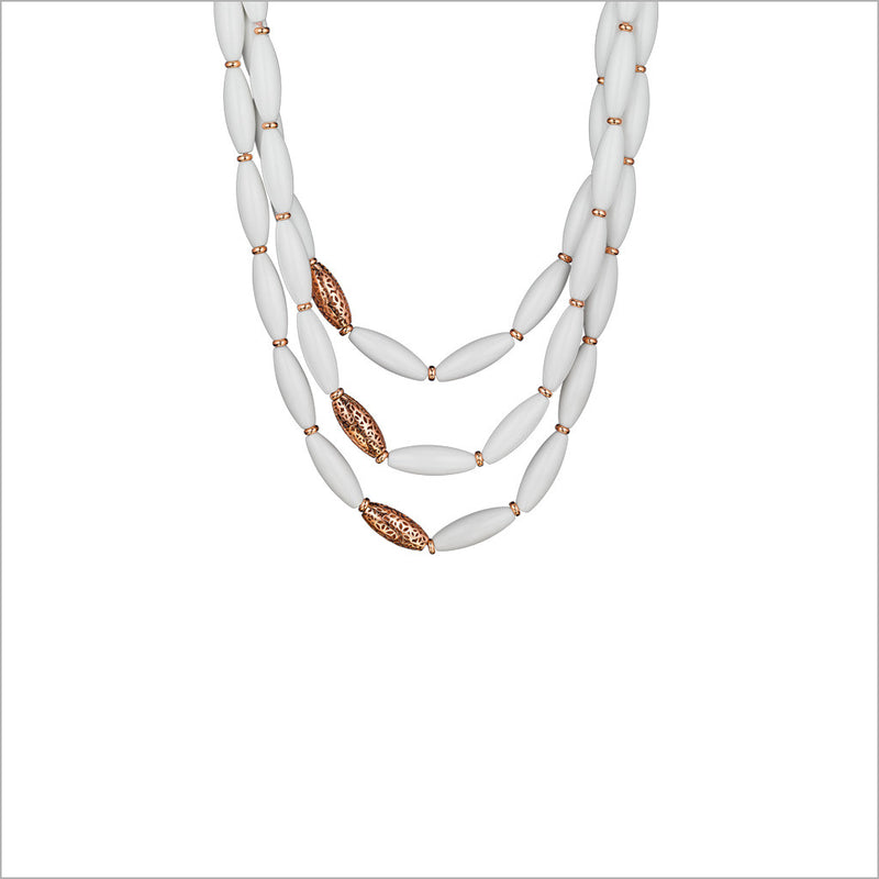 Sahara White Agate Necklace in Sterling Silver plated with 18k Rose Gold