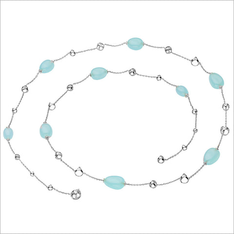 Triadra Aqua Chalcedony Necklace in 18K White Gold