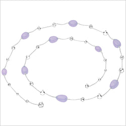 "Triadra 18K White Gold & Lavender Chalcedony 42"" Necklace"