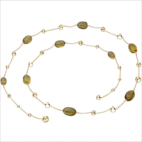 "Triadra 18K Yellow Gold & Olive Quartz 42"" Necklace"