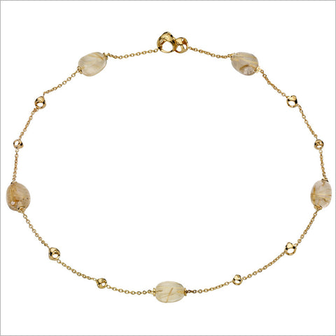 "Triadra 18K Yellow Gold & Rutilated Quartz 18"" Necklace"