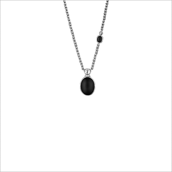 Lolita Black Agate and Sterling Silver Necklace