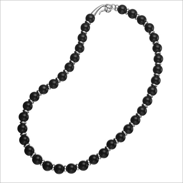 "Icona Black Onyx 16"" Bead Necklace in Sterling Silver"