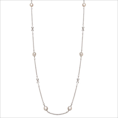 "Diamante Pearl 42"" Necklace in Sterling Silver"