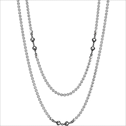 "Diamante Silver & Black Rhodium 42"" Necklace in Sterling Silver"